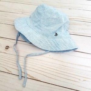 H&M Sailboat Baby Cotton/Linen Sun Hat size 9-12M